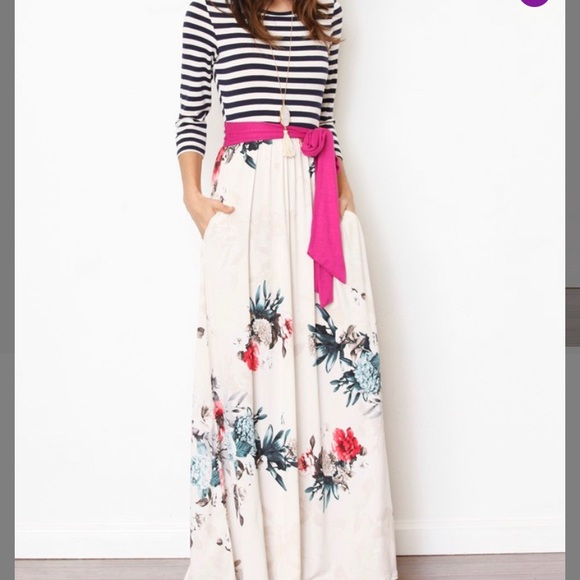 849cc1f3ed60 Egy Dresses | Magenta And Ivory Floral Stipe Pocket Maxi Dress ...